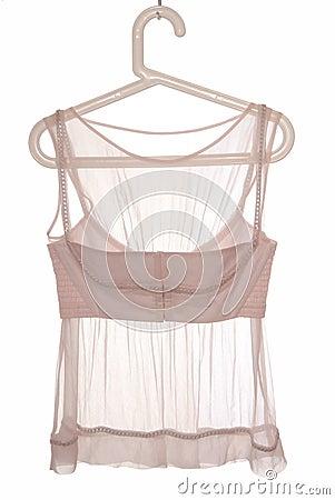 Transperent blouse is on hanger.