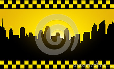 Background with evening city silhouette and taxi