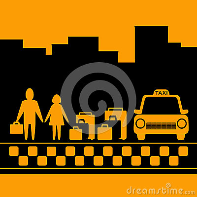 Transport background with family, luggage and taxi