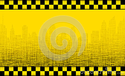 Background with taxi sign and city silhouette