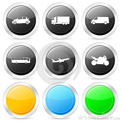 Transport circle icon set