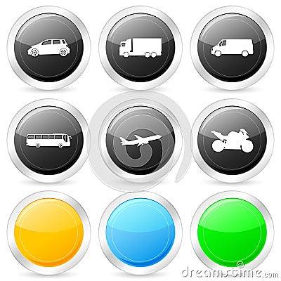 Transport circle icon set