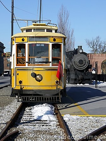 Transport: historic yellow trolley car
