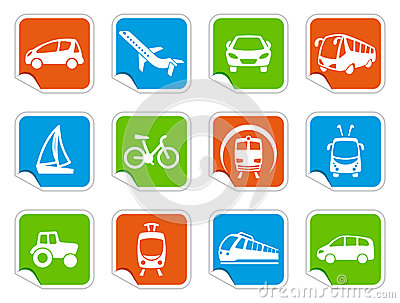 Transport icons on stickers