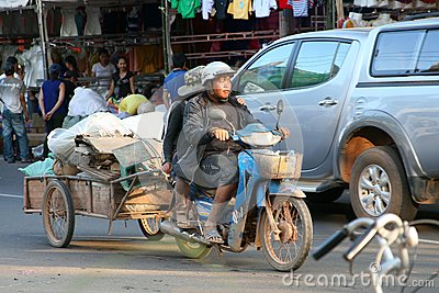 Transport on a motorbike, Vientiane, Laos Editorial Photo