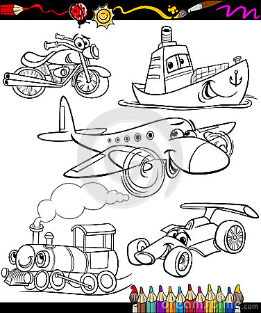Free Transport Set For Coloring Book Royalty Free Stock Photos - 37777608