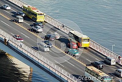 Transport traffic across Guangzhou bridge Editorial Stock Photo