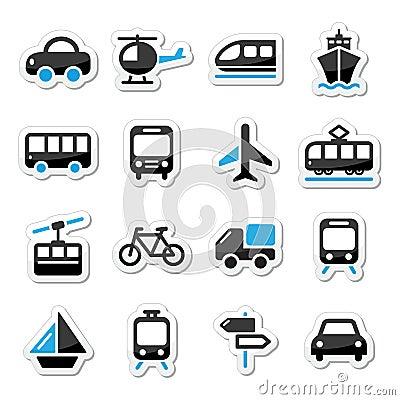 Transport, travel  icons set isoalted on white