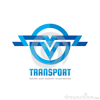 Free Transport - Vector Logo Concept Illustration. Abstract Stripes In Circle Shape. Wings Sign. Letter V Symbol. Logistic Icon. Royalty Free Stock Photo - 101501835