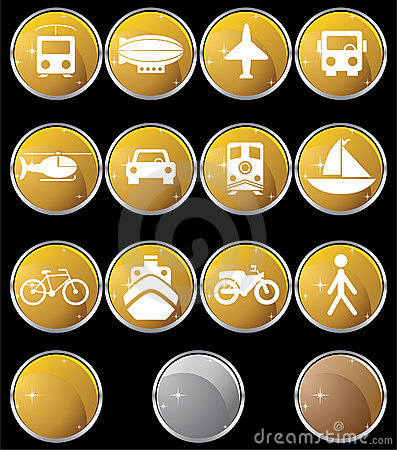 Transportation Buttons - Gold Round