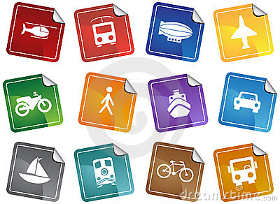 Transportation Buttons - Sticker