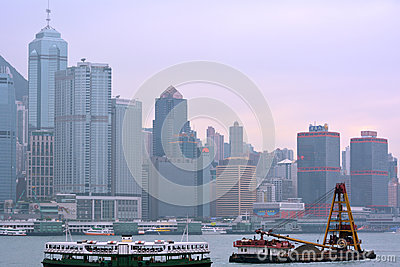 Transportation and city buildings in Hongkong Victoria harbor, year of 2013 Editorial Photo