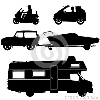 Transportation icons collection - vector silhouett