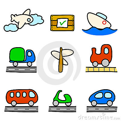 Transportation icons (color variation)
