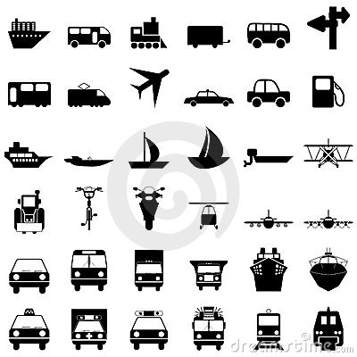 Free Transportation Icons Set Royalty Free Stock Image - 12077826