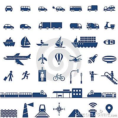 Free Transportation Icons Set Royalty Free Stock Images - 45447539