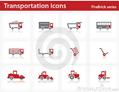 Transportation icons set - Firebrick Series