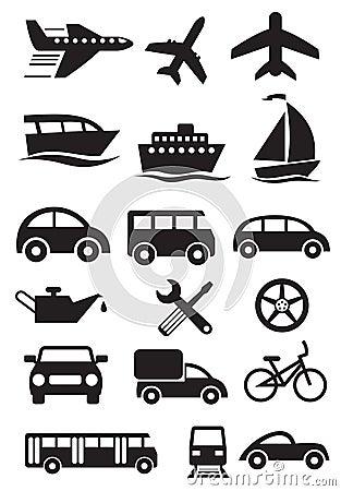 Transportation icons. Vector set