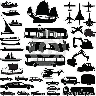 Transportation silhouette vector