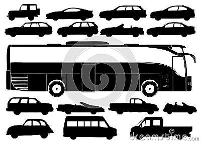 Transportation Silhouettes Vector
