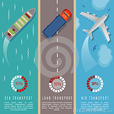 Free Transportation Top View Infographics Vector Illustration. Transport And Delivery By Land Transport, Sea And Plane Stock Photos - 88046563