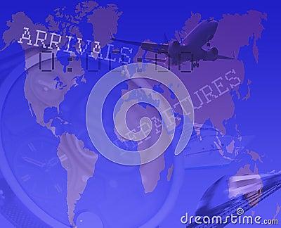 Transportera begreppet med drevet, flygplan och shipen