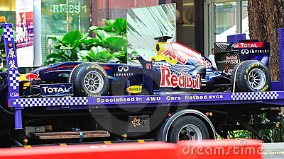 Transporting a Red Bull Racing F1 RB6 car Editorial Photo