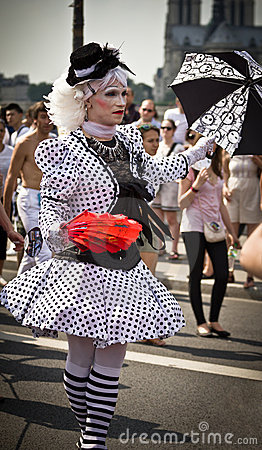 Transvestite during Gay Pride Paris 2010 Editorial Photo