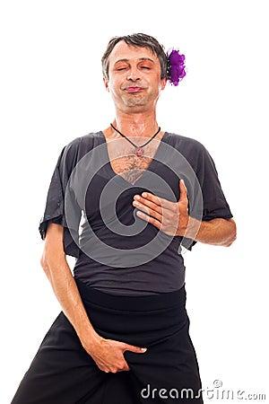 Transvestite man cross-dressing