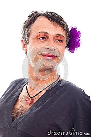 Transvestite man smiling