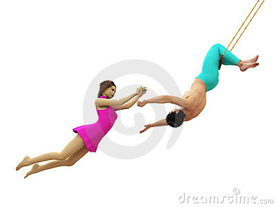 Trapeze Artists In Flight Isolated - 15.4KB