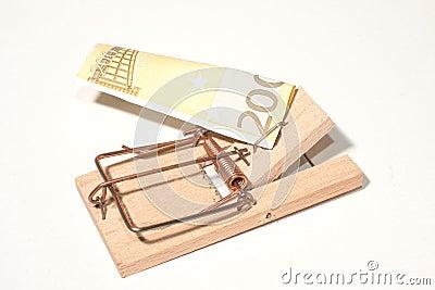Trappola per topi con 200-Euro-Note
