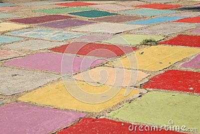 Trapuntare di erba in un campo delle mattonelle colorate