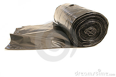 Trash bags rolled up