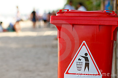 Trash bin on the beach