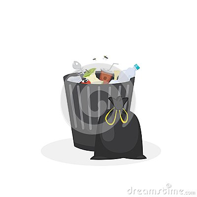 Free Trash Bin Garbage Container Vector Illustration In Cartoon Style Stock Photos - 101233003