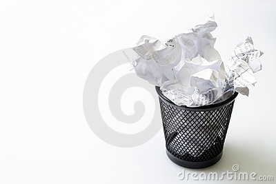 Trash bin with papers garbage