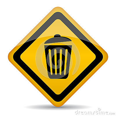 Trash bin vector sign