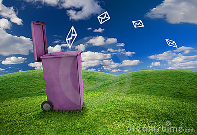 Trash can and envelopes