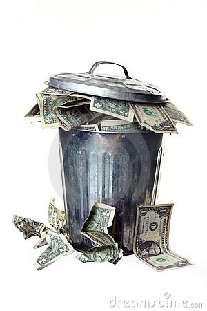 Trash can full of money