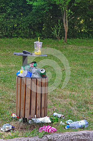 Trash Can In The Park Stock Photo Image 57436997