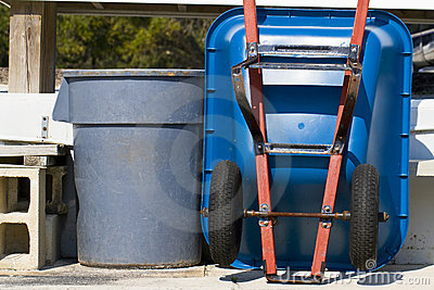Trash Can and Wheel Barrel