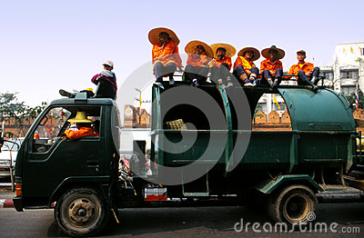 Trash collectors waiting at the Flower Carnival Editorial Photography