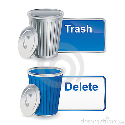 Trash and delete buttons / icons with container