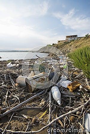 Trash in Italian Sea Editorial Stock Image