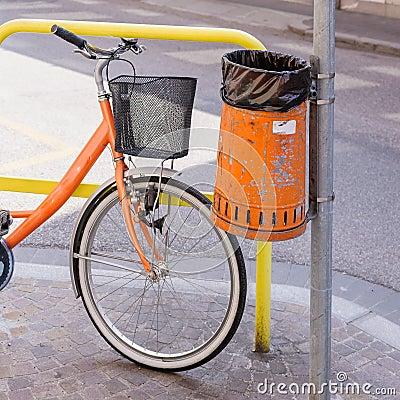 Trash metal orange waste and bicycle stock photo image 53030757 - Rd wastebasket ...