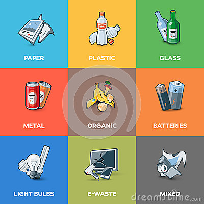 Free Trash Waste Recycling Categories Types Stock Photos - 57025003