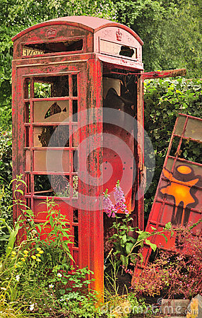 Trashed UK phone box