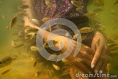 Tratamiento del cuidado de piel del pedicure de los pies del balneario de los pescados