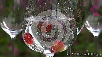 Trauben fallen in ein Glas stock video